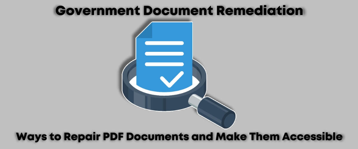 Government Document Remediation - ways to repair PDF documents and make them accessible